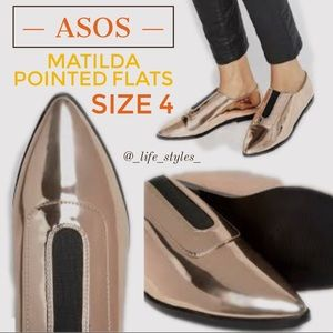 Like New ASOS Matilda Metallic Bronze Flats Sz 4
